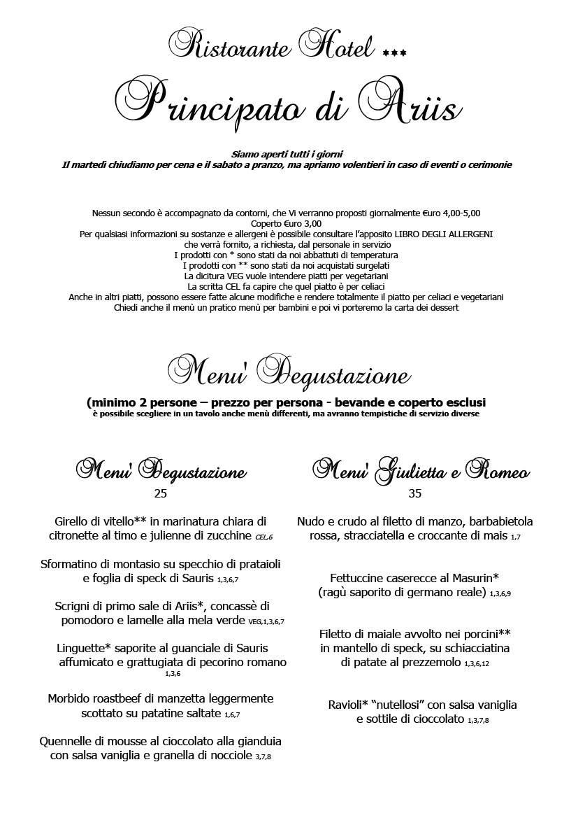 Menu febbraio 2020 alla carta 1 Cucina Ristorante Ariis di Rivignano