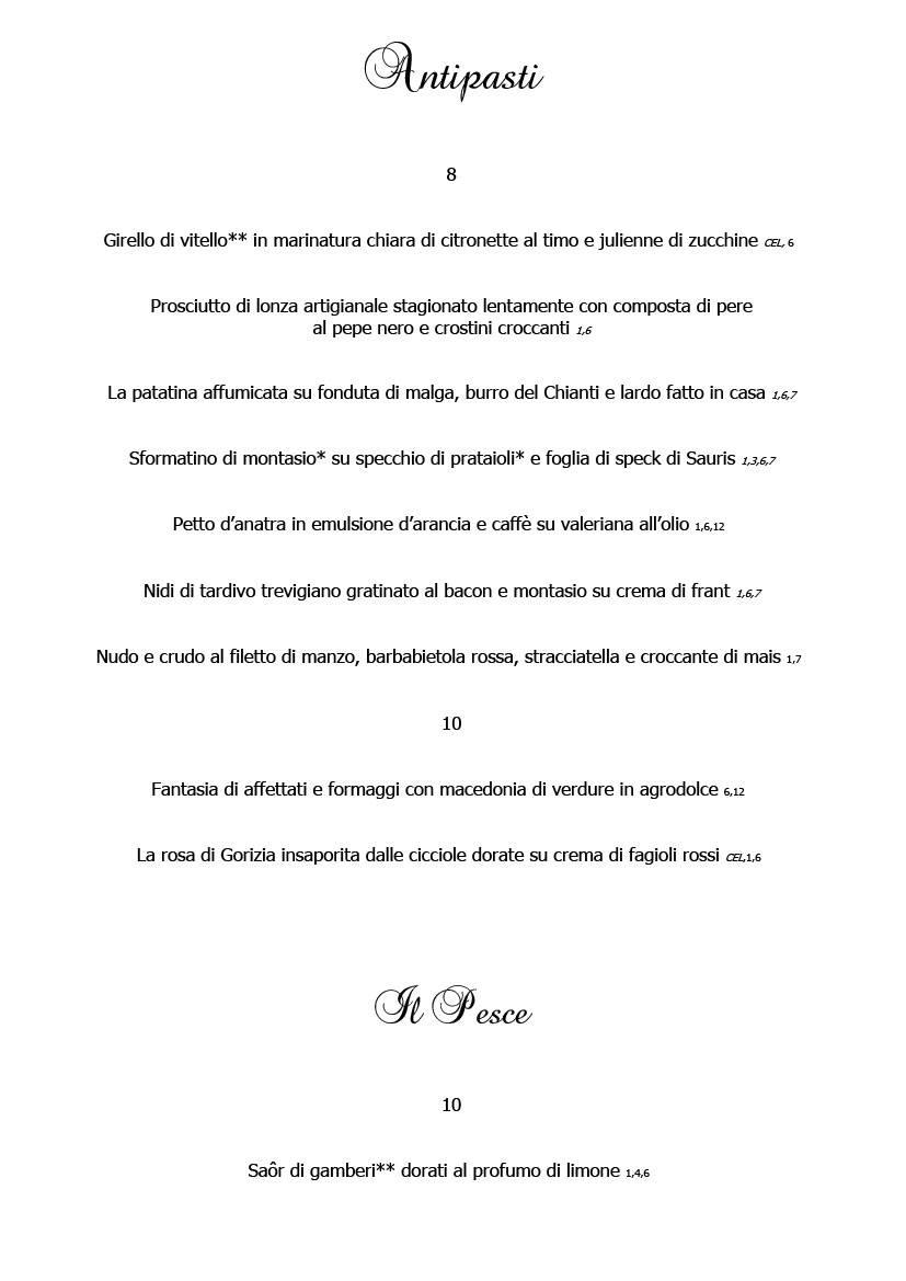 Menu febbraio 2020 alla carta 2 Cucina Ristorante Ariis di Rivignano