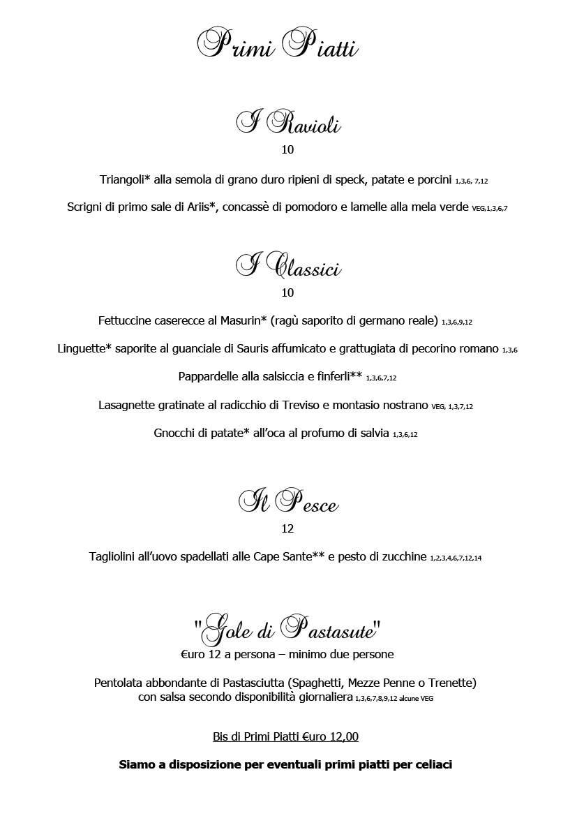 Menu febbraio 2020 alla carta 3 Cucina Ristorante Ariis di Rivignano