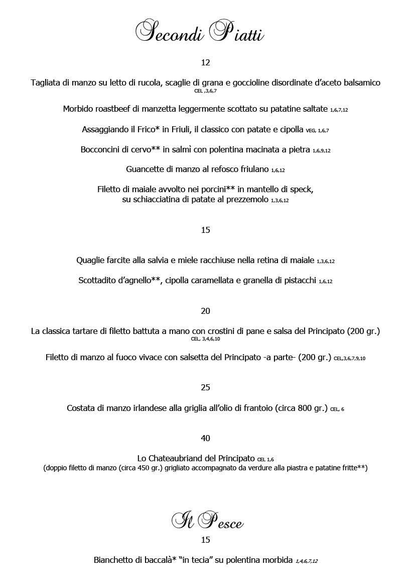 Menu febbraio 2020 alla carta 4 Cucina Ristorante Ariis di Rivignano
