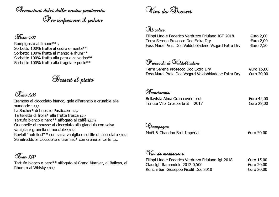 dolci ristorante ariis rivignano Cucina Ristorante Ariis di Rivignano