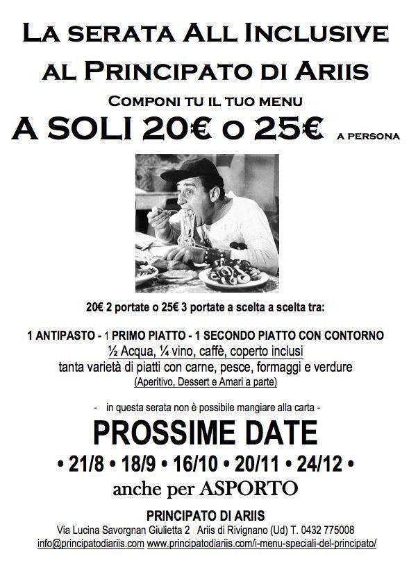 serata all incusive tutte le date 2020 8 Una volta al mese si cena con solo 20 o 25 euro! Ci si vede venerdì 21 agosto