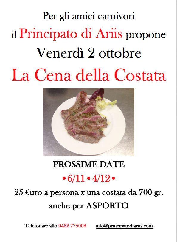 cena costata 21020  Cena della costata: prossima data 2 ottobre
