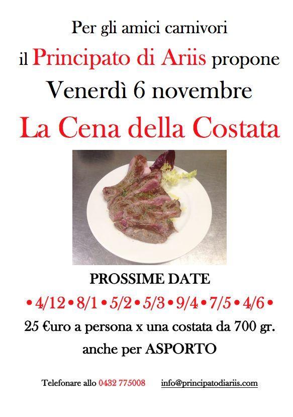 cena costata 61120  Cena della costata: prossima data 4 dicembre   ANCHE PER ASPORTO