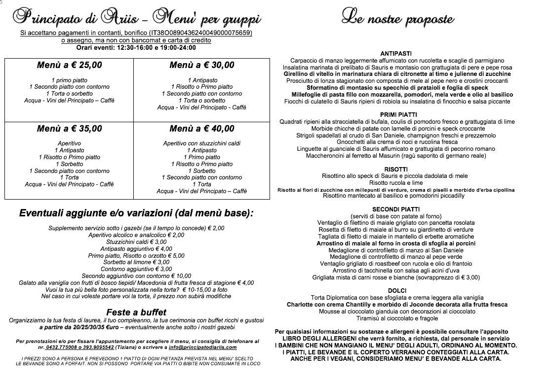 menu ristorante gruppi Eventi e cerimonie, Veranda esterna e giardino | Ristorante Rivignano Friuli